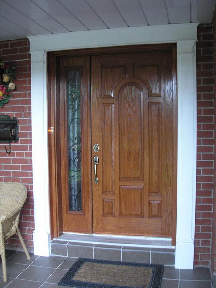 8 Panel Wood Grain Front Door With Side Lite Installed By Four Seasons  Windows U0026 Doors